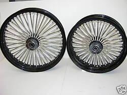 Black Mammoth 52 Fat Spoke Wheels Harley 21x3.5 And 18x3.5 Touring Softail Dyna