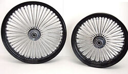 Dna Black Mammoth 52 Fat Spoke Wheels Harley 21x3.5 And 18x4.25 Softail Or Touring