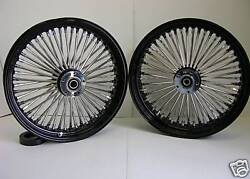 Black Mammoth Fat 52 Spoke Wheels 18x3.5 And 18x3.5 Harley Touring Softail