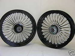Black Mammoth Fat 52 Spoke Wheels Harley 16x3.5 And 16x3.5 Softail And Touring