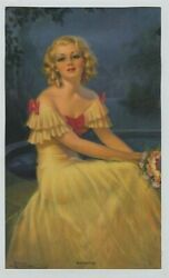 Vintage 1930s-40s Woman Print Romance Blonde Beauty In Yellow Evening Gown