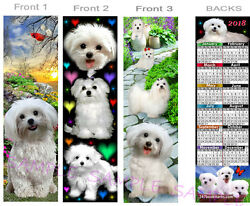 MALTESE 2018 CALENDAR BOOKMARK-3Lot-White Terrier Dog Mix Card Ornament Figurine