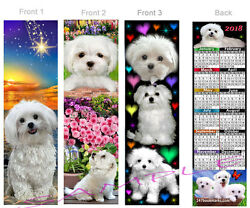 MALTESE 2018 CALENDAR BOOKMARK-3 Set-White Terrier Dog Morkie Mix Card Ornament