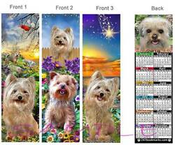 YORKIE MIX 2018 CALENDAR BOOKMARK- 3 -Yorkshire Terrier Dog Morkie Card Ornament