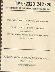 Truck 1-1/4 Ton And039gama Goatand039 6x6 M561 Maintenance Book Us Army Ww2 Tm9-2320-242-2