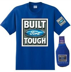 Ford Build Tough Tee with Cooler Koozie Bottle Set Blue