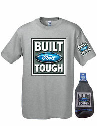 Ford Build Tough Tee with Cooler Koozie Bottle Set Gray