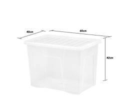30 X 80 Litre Clear Plastic Large Storage Box With Black Lids Strong Nestable