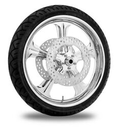 Performance Machine 21 Front Chrome Wrath Wheel Tire Rotor Package Harley 14-15