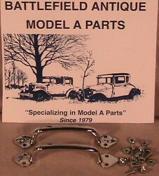 1928-1931 Model A Ford Hood Handle And Hood Latch Clip Set In Stainless Steel