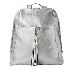 Stunning Silver Leather Backpack - Metallic Leather Laptop Bag Womens Work Bag