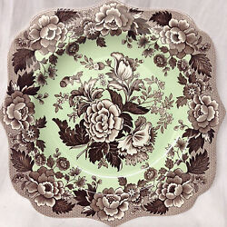 Spode Blue Room Garden Collection Square Fancy Salad Plate 9 Brown Poppy Mint