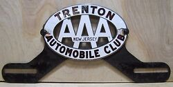Old Porcelain Trenton Automobile Club License Plate Topper Aaa New Jersey Fox Co