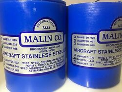 2 Malin Aviation S/s Aircraft Safety Wire 1lb Roll Of Both .025 And .041 W/ Certs