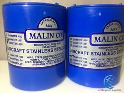 2 Malin Aviation S/s Aircraft Safety Wire 1lb Roll Of Both .025 And .032 W/ Certs