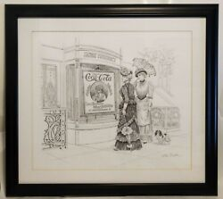 Jacoband039s Pharmacy Coca-cola Ad Lee Dubin Framed Original Pencil Sketch
