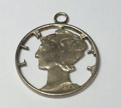 Vintage Silver Hand Carved Mercury Dime Charm Pendant Cut Out Liberty