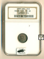 1909 Canadian 5ct Coin Round Lvs. Ngc Graded Ms65