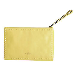 Valentino Garavani Women's Yellow 100% Leather Rockstud Wristlet Clutch Bag