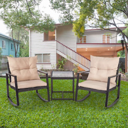 Wicker Table And Chairs 3 Piece Patio Chairs Set Of 2 Outdoor Dining Lawn Garden
