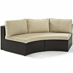 Crosley Catalina Wicker Curved Patio Sectional Sofa In Brown And Sand