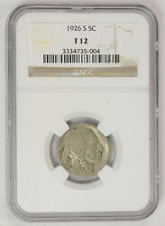 1926 S .05 Cent United States Buffalo Nickel Ngc Certified Coin