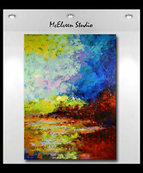 Original Abstract River Lowlands Oil Painting Xxl 36 X 48 Claire Mcelveen