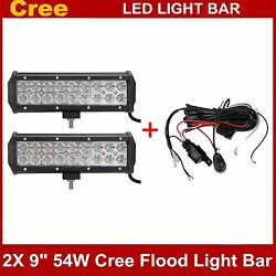 2x 9inch 54w Cree Led Work Light Bar Flood Offroad Truck Suv 4wd With Wiring Kit