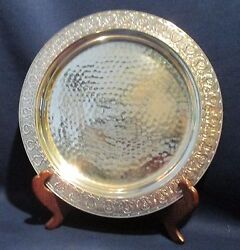 1890and039s Meriden Quadruple Silverplate Hammered Tray Salver Plate 11 Round