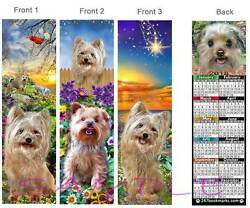 YORKIE MIX 2018 CALENDAR BOOKMARK-3Set-Yorkshire Terrier Dog Morkie Art Ornament