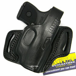 TAGUA RH BLACK LEATHER THUMB BREAK OWB BELT HOLSTER - KEL-TEC P3AT 380 w LASER