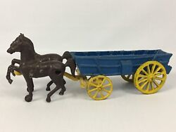 Antique Vintage Cast Iron Horse-drawn Cart Wagon Metal Toy - Usa Made