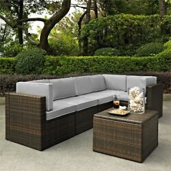 Crosley Palm Harbor 6 Piece Wicker Patio Sectional Set In Brown And Gray