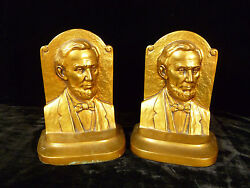 Exquisite Signed Jennings Brothers Abraham Lincoln Gilt Metal Bookends - C 1915