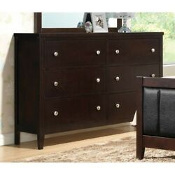Coaster Carlton 6 Drawer Double Dresser in Cappuccino and Silver