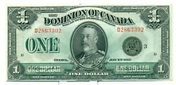 1923 The Dominion Of Canada 1 Bank Note D2863302 Ch Unc Dc25n