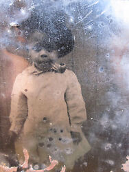 Victorian Antique African American Little Boy Angel Pipe Tobacco Tintype Photo