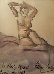 ANTIQUE GEORGE LUKS ASHCAN NYC ARTIST BOSTON MA NUDE LADY 1923 FINE ART PAINTING