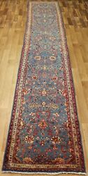 Antique Persian Sarouk Blue Runner In Great Condition 14 X 2.6 Ft