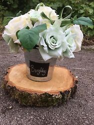 Silk Flower Wedding Centre Pieces - Buckets With Wooden Stands And Top Table Spray
