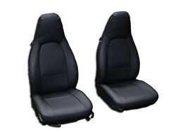 PORSCHE BOXSTER 1997 2004 BLACK S.LEATHER CUSTOM MADE FIT FRONT SEAT COVER $149.00