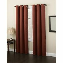 Set 2 Solid Paprika Red Window Curtains Panels Drapes 63 84 95 In Bronze Grommet