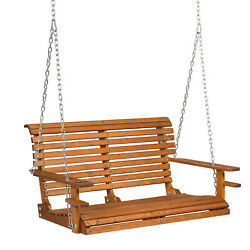 4ft Wood Porch Swing Garden Patio Hanging Bench Deck Courtyard Seat W/cup Holder