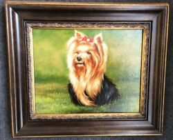 Yorkshire Yorkie Terrier Dog Oil Painting On Canvas