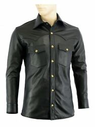 Menand039s Soft Black Leather Slim Fit Full Sleeve Button Up Shirt