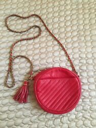 Saks Fifth Avenue Round Red Leather Clutch Evening Bag Gold Chain Tassel $50.00