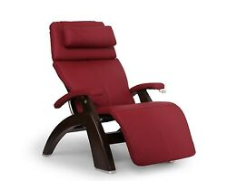 Human Touch Red Leather Pc-420 Dark Walnut Zero Gravity Perfect Chair Recliner