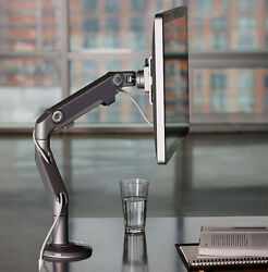 New M8 Humanscale Adjustable Monitor Arm - Silver Grey Clamp On Desk Table Mount