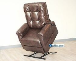 New Chestnut Vinyl Easy Comfort Fc-201 Power Electric Lift Chair Motion Recliner