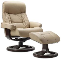 Fjords 215 Muldal Leather Recliner Chair Ottoman Norwegian Scandinavian Lounger